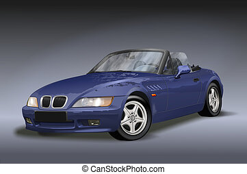 Blue vintage convertible car seen from the front with grill and hood