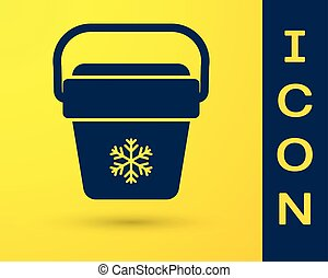 Blue Cooler bag icon isolated on yellow background. Portable freezer bag. Handheld refrigerator. Vector Illustration