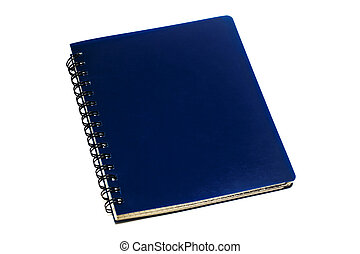 Blue copybook, isolated on a white background