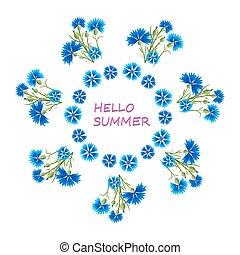 Blue Cornflowers in a Circle