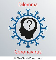 Blue coronavirus icon with a human head silhouette and a ...