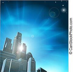 Blue corporate cityscape