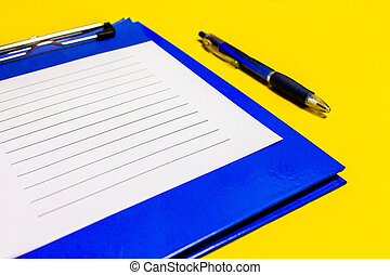 Blue corporate notes folder with blue pen isolated on white background. With sheets of writing paper.