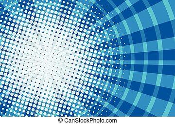 Blue corridor in the squares pop art retro comic background
