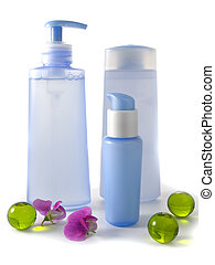 blue cosmetic bottles without labels isolated on white ...