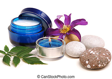 blue cosmetic cream - blue cosmetic cream,rebble, candle,...