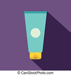 Blue cosmetic tube flat icon