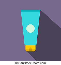 Blue cosmetic tube flat icon