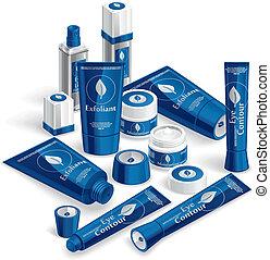 Blue Cosmetics Array - Vector illustration of various...