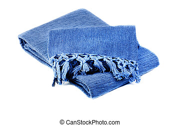blue cotton blanket  isolated on  white  background