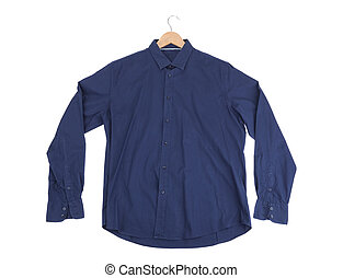 Blue cotton Mens Shirt. On the rack.
