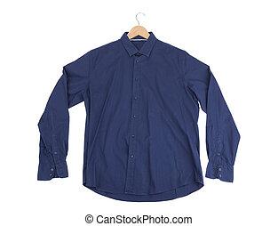 Blue cotton Mens Shirt. On the rack.