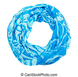 Blue cotton scarf isolated on white