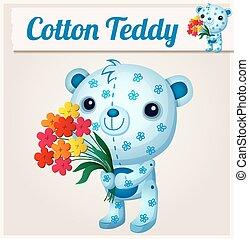 Blue cotton teddy bear. Cartoon vector illustration
