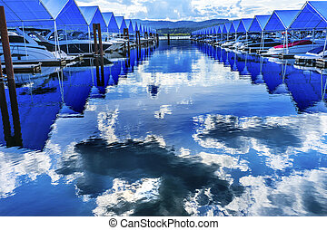 Blue Covers Boardwalk Marina Piers Boats Reflection Lake...
