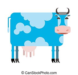 Blue cow white background. Vector illustration of farm animals