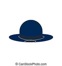 Blue cowboy hat icon, flat style