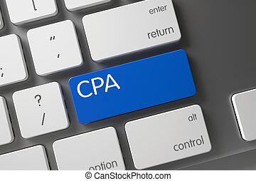 Blue CPA Keypad on Keyboard. 3D.