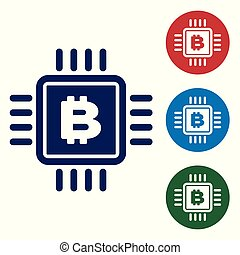 Blue CPU mining farm icon isolated on white background. Bitcoin sign inside microchip. Cryptocurrency mining community. Digital money. Set color icon in circle buttons. Vector Illustration