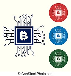 Blue CPU mining farm icon isolated on white background. Bitcoin sign inside processor. Cryptocurrency mining community. Digital money. Set color icon in circle buttons. Vector Illustration
