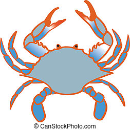 Blue Crab - A color line drawing of a Chesapeake Bay Blue...