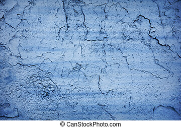 Blue crack - Blue painted cracking wall concrete texture...