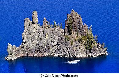 Blue Crater Lake Reflection Phantom Ship Island White...