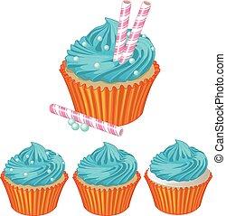 Blue cream cupcake