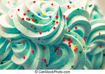 Blue Cream - Blue whipped cream decorated with colourful...