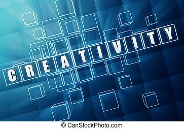blue creativity in glass blocks