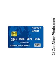 Blue credit card isolated on white background in flat style.