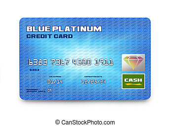 Blue Credit Card - Single Credit Card Top View Isolated on...