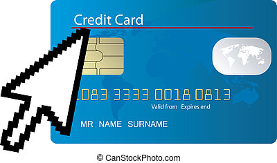 blue credit card with computer icon