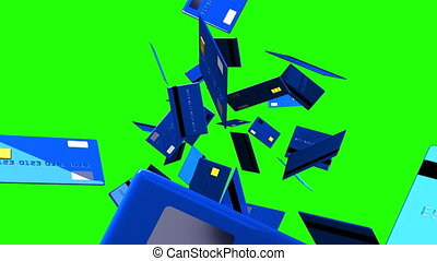 Blue Credit cards on green chroma key. 3D render animation.
