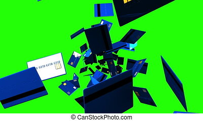 Blue Credit cards on green chroma key. Loop able 3D render...
