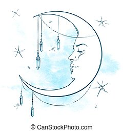 Blue crescent moon with moonstones - Blue crescent moon with...