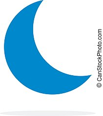 Blue crescent vector flat isolated