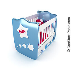 Blue crib isolated 3D Rendered