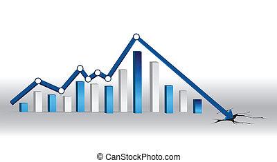 Blue crisis chart illustration