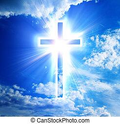 blue cross on heaven background