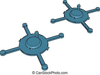 Blue cross-shaped spaceships vector illustration on white background