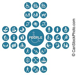 Blue cruciform disability and people Icon collection - Blue...