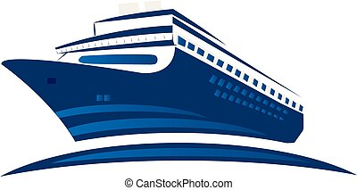 Blue cruise ship, symbol logo
