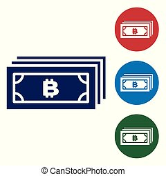 Blue Cryptocurrency concept bitcoin in circle with microchip circuit icon on white background. Blockchain technology, digital money market. Set color icon in circle buttons. Vector Illustration