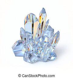 Blue crystal 3d rendering