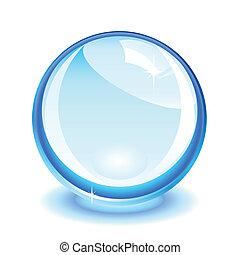 Blue crystal ball over white