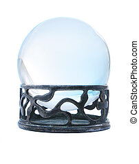 Blue crystal ball on stand isolated in white