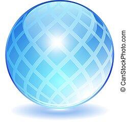 Blue crystal ball vector icon
