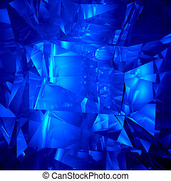 Blue crystal facet background - computer generated 3D...
