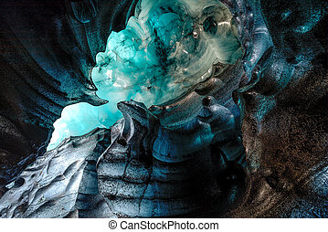 Blue crystal ice cave, underground beneath the glacier in Iceland
